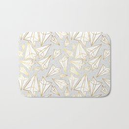 Paper Airplanes Faux Gold on Grey Bath Mat