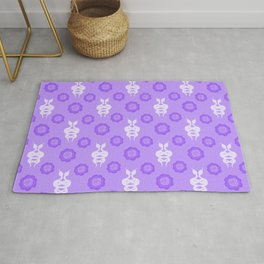 Exotic decorative snakes, little blooming spring roses. Serpents botanical whimsical animal artistic nature lilac purple whimsical cute retro vintage pattern. Reptiles, plants. Rug