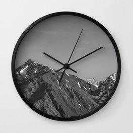 California's Sierra Mountains - B & W Wall Clock