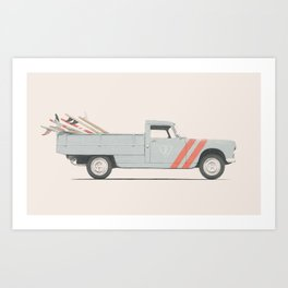 Surfboard Pick Up Van Art Print