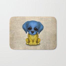 Cute Puppy Dog with flag of Ukraine Bath Mat