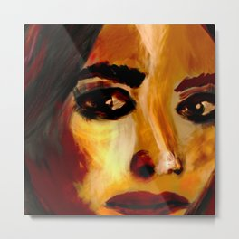 Oil Painting Female Features Metal Print
