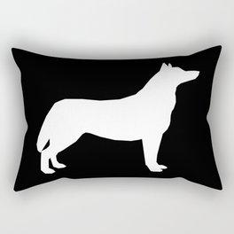 Husky dog pattern simple minimal basic dog silhouette huskies dog breed black and white Rectangular Pillow