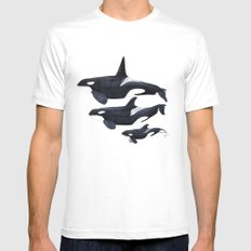 Orca (Orcinus orca) White Mens Fitted Tee MEDIUM