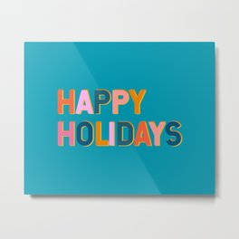 Colorful Happy Holidays Typography Metal Print
