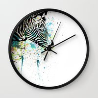 zebra Wall Clocks featuring Zebra by Del Vecchio Art by Aureo Del Vecchio