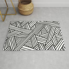 Abstract white & black Lines and Triangles Pattern - Mix and Match with Simplicity of Life Rug