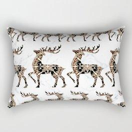 Marbled Black and Rose-Gold Mandala Reindeer Textile Rectangular Pillow