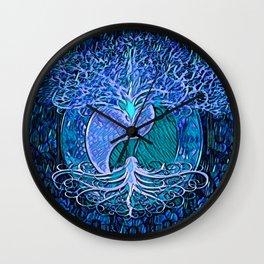 Tree of Life Yin Yang Blue Wall Clock