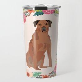 rhodesian ridgeback floral wreath dog breed pet portrait pure breed dog lovers Travel Mug