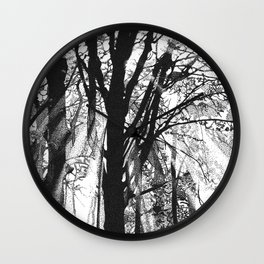 Pointillistic forest Wall Clock