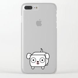 Pitbull Loaf - White Pit Bull with Floppy Ears Clear iPhone Case