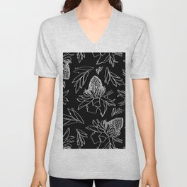 Tropical Ginger Plants in Black + White Unisex V-Neck