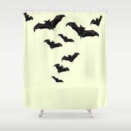 MYRIAD BLACK FLYING BATS DESIGN Shower Curtain