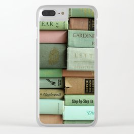pastel book stacks Clear iPhone Case