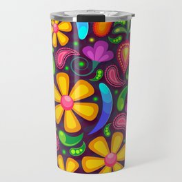 Brightly Colored Yellow Floral Pattern Travel Mug