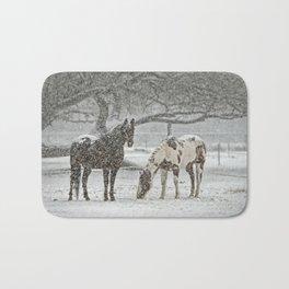 2 Horses under a tree in winter Bath Mat