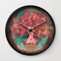 medusa Wall Clocks featuring Medusa by Kindra Haugen