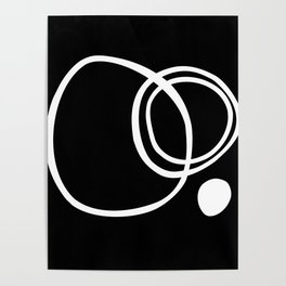 Black and White Circles Abstract Modern Poster