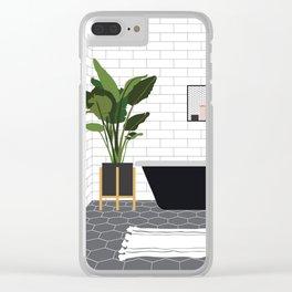 A minimal bathroom Clear iPhone Case