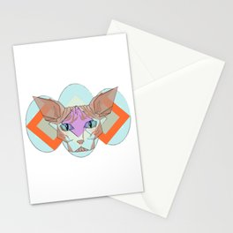 Geometric Hairless Cat Stationery Cards
