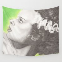frankenstein Wall Tapestries featuring The Bride of Frankenstein  by JadeJonesArt