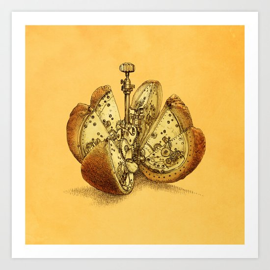 Steampunk Orange Art Print