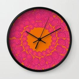 Pink Rose Wreath Wall Clock