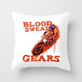 Funny Dirt Bike Out Motocross Gift Dirt Bike And Gears Product Throw Pillow