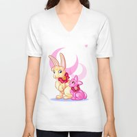 sailormoon V-neck T-shirts featuring Moon Rabbits by Becky Hopkins