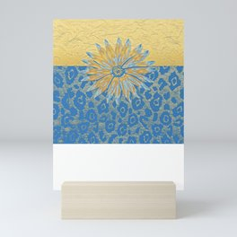 Animal Print Cheetah Yellow and Blue Pattern Mini Art Print