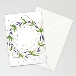 Watercolor wreath with Lavender Flowers Stationery Cards