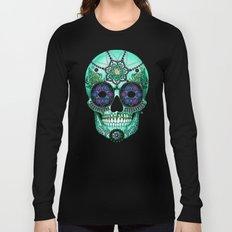 Sugar Skull Sombrero Night - Purple and Green Paisley Skull Art Long Sleeve T-shirt
