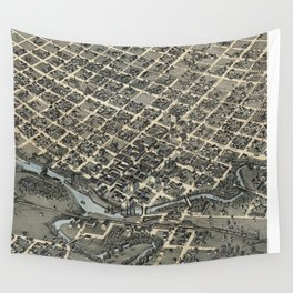 Vintage Pictorial Map of Houston Texas (1873) Wall Tapestry