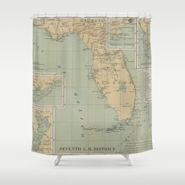 Vintage Lighthouse Map of Florida (1898) Shower Curtain