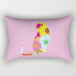 Cute Flower Power Hippie Cat Silhouette Rectangular Pillow