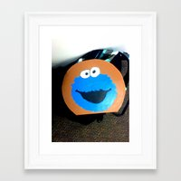 cookie monster Framed Art Prints featuring cookie monster by smilingbug