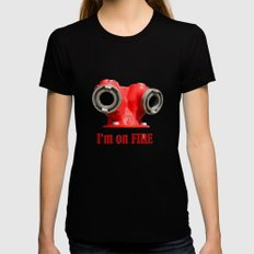 I'm on FIRE MEDIUM Womens Fitted Tee Black