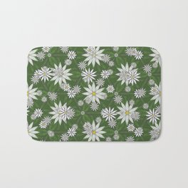 White Flowers on Green Background Pattern Bath Mat