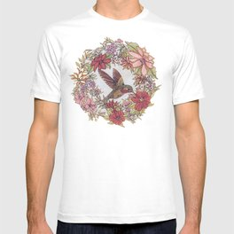 Hummingbird In Flowery Garden Wreath T-shirt