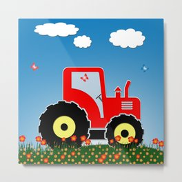 Red tractor in a field Metal Print