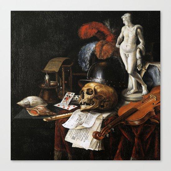 Vintage Vanitas- Still Life with Skull 3 Canvas Print