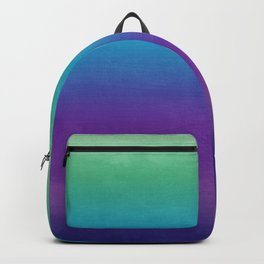 Purple, Turquoise, Green Horizon Watercolor Ombre Abstract Backpack