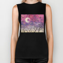 chickadees and io moths in the moonlit sky Biker Tank