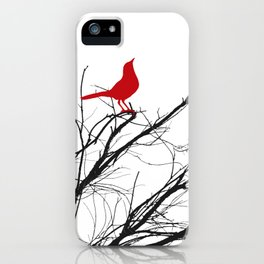 Jaunty Red Bird on Branch A533 iPhone Case