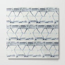 Simply Tribal Shibori in Indigo Blue on Lunar Gray Metal Print