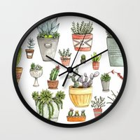 succulents Wall Clocks featuring Potted Succulents by Brooke Weeber