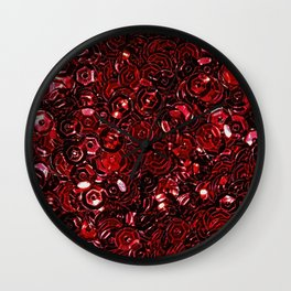 Red Scattered Sequins Wall Clock