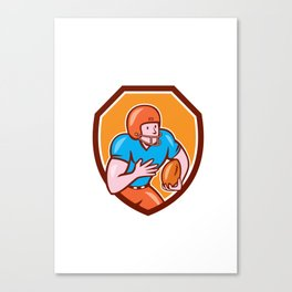 American Football Receiver Running Ball Shield Canvas Print