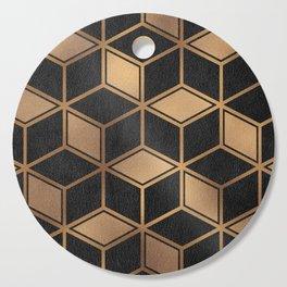 Charcoal and Gold - Geometric Textured Cube Design II Cutting Board